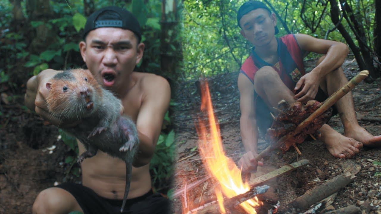 เอาชีวิตรอด ล่าสัตว์หา [อ้นยักษ์] ป่าลึกในพม่า!!!