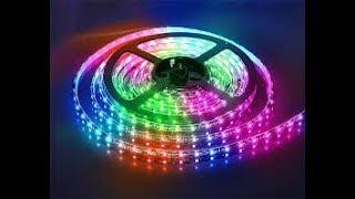как подключить цветную светодиодную RGB ленту , тройной выключатель и блок питания