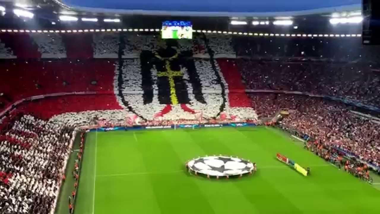 fc bayern vs fc barcelona champions league halbfinale einlauf fan video choreo 3 2