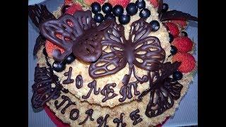 идея оформления торта Наполеон с кремом Шарлотт