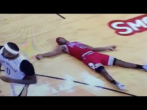 Rajon Rondo FLOPS So Hard After a DeMarcus Cousins Screen, He Gets CPR from a Teammate!