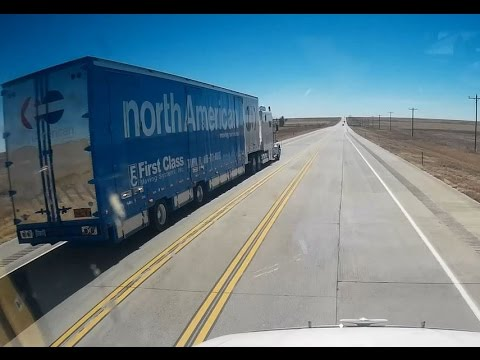 North American Van line truck passing in no passing zone  US 287   Colorado
