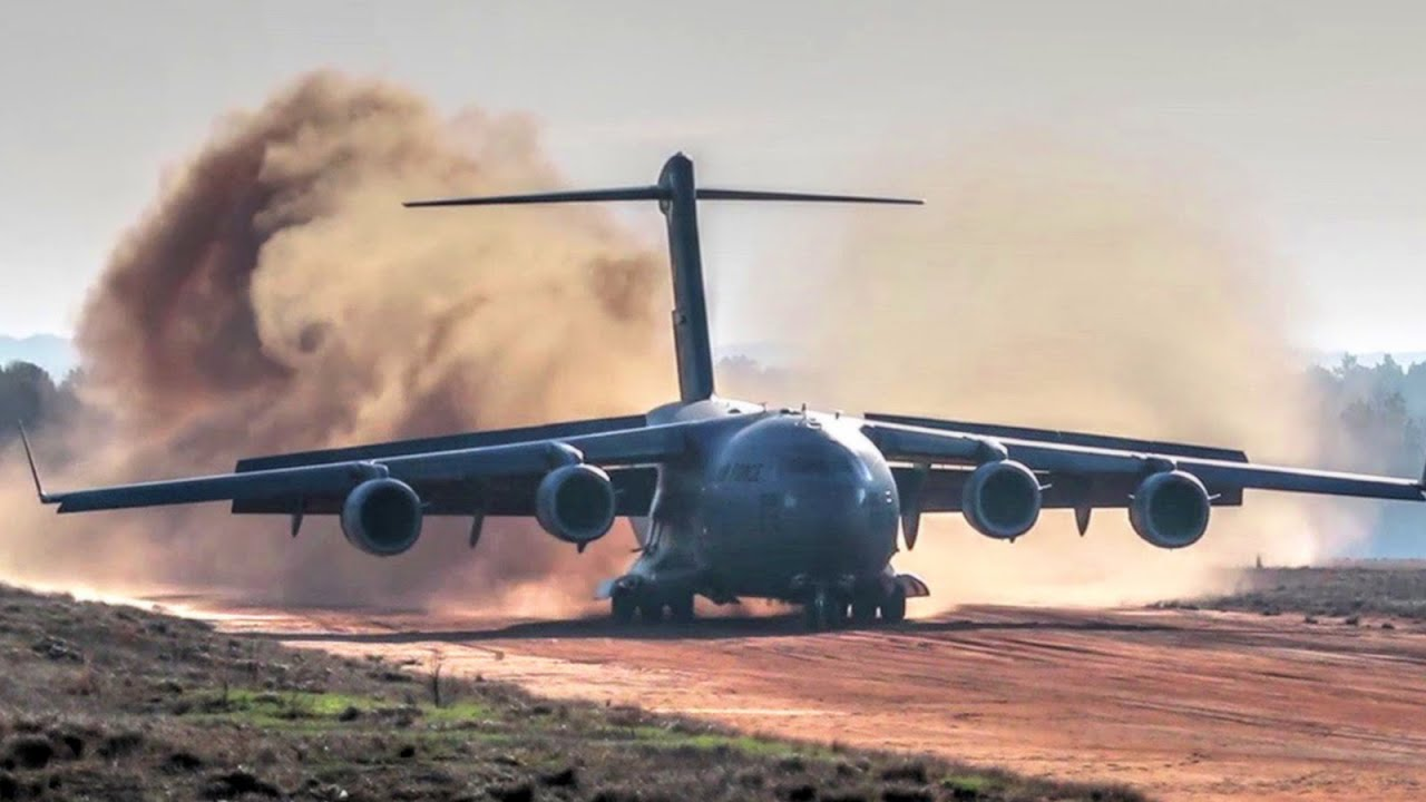 Good Evening Hd Wallpaper C 17 Dirt Airstrip Landing Amp Takeoff Unloads Ah 64 Youtube