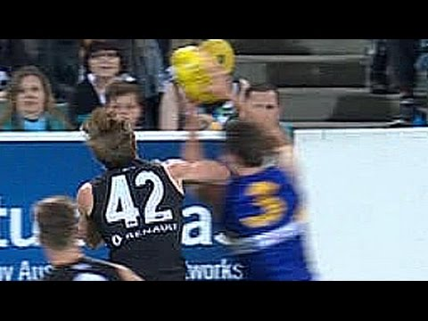 AFL 2016 rnd9: Tom Jonas knocks out Andrew Gaff - KO's with elbow to the head, melee erupts (Full)