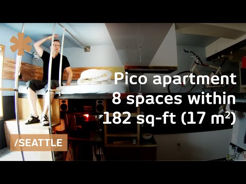 DIY-crafted Seattle micro apartment: 8 spaces stacked in 182