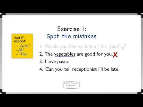 Articles: A, An, The (2). Exercise 1