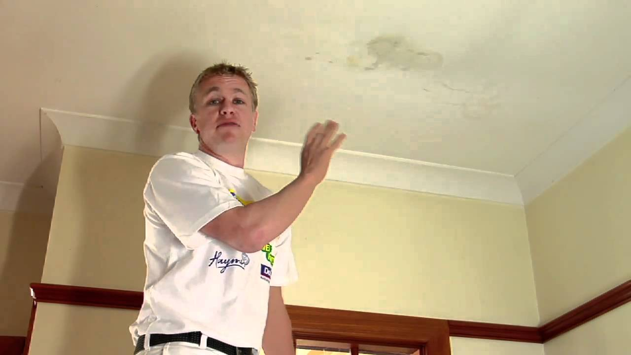 how to paint over a water stained ceiling