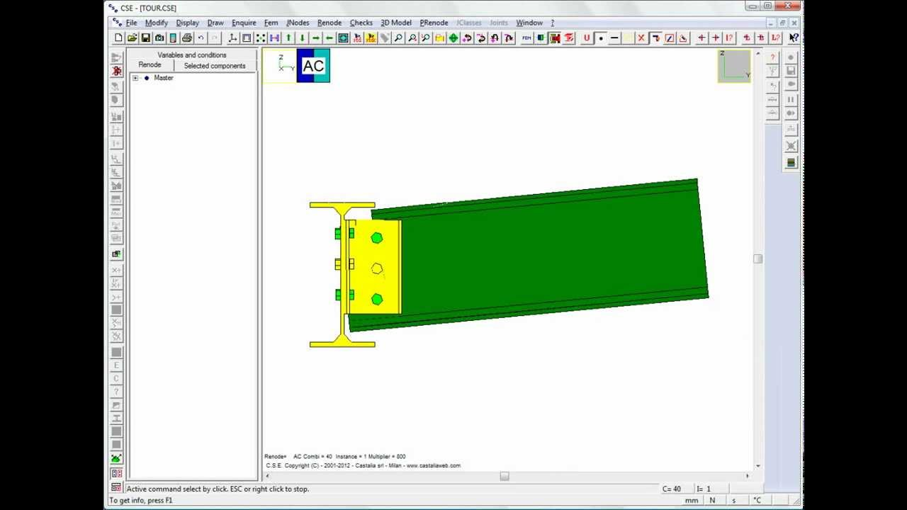 Steel connections software CSE: Tour Beam-beam joint with angle bracket