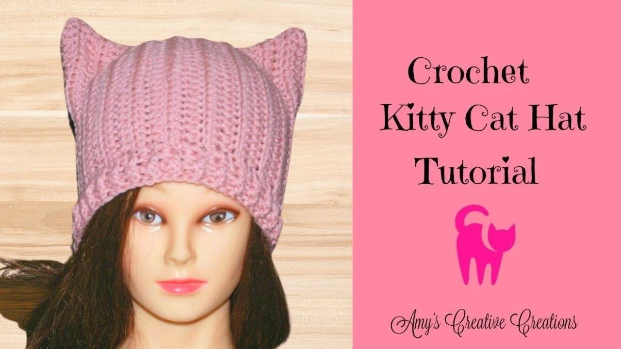 174c2129d Crochet Kitty Cat Hat Tutorial - Crochet Jewel - YouTube