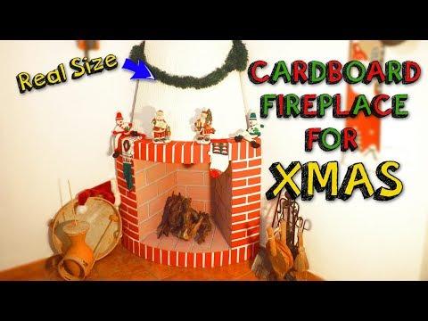 XMAS CRAFTS - easy CARDBOARD fireplace for christmas decor DIY - Mr. DIY