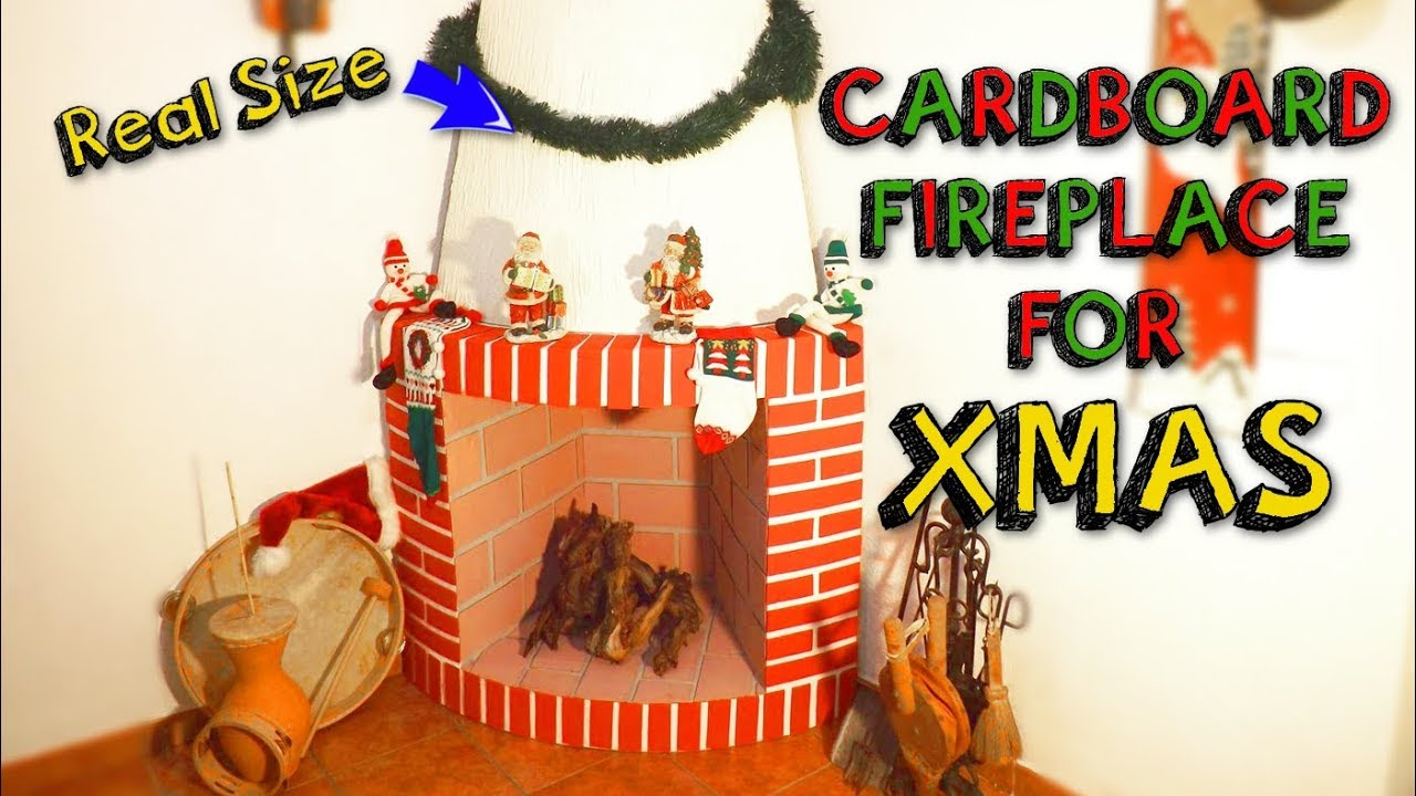 xmas crafts easy cardboard fireplace for christmas decor diy