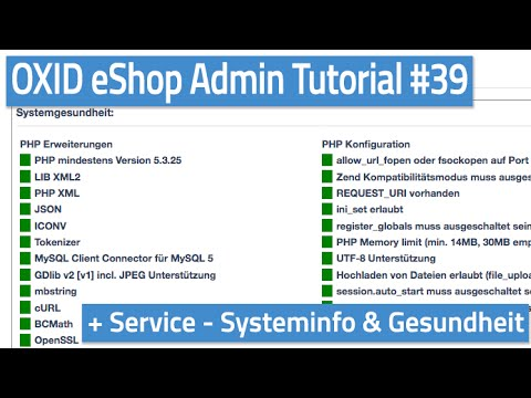Oxid eShop Admin Tutorial #39 - Service - Systeminfo, Systemgesundheit & Diagnose