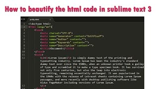 How to beautify the html code in sublime text 3