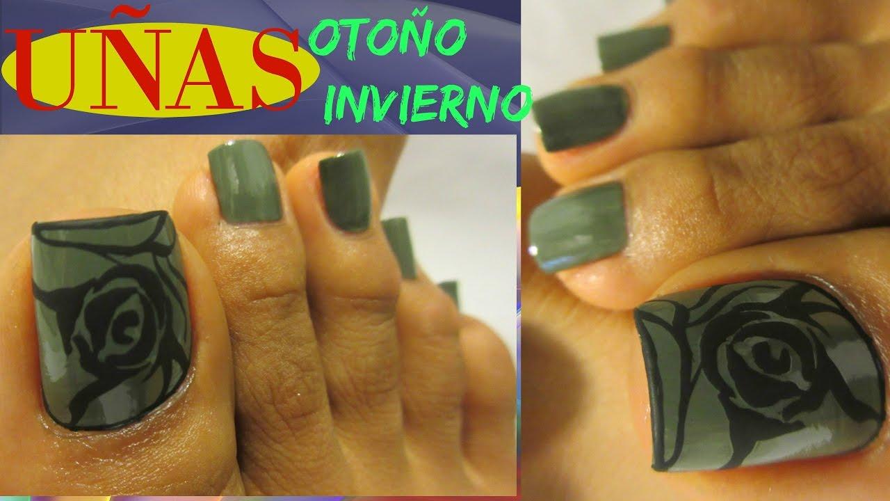 Uñas Color Verde Olivo Decoradas De Los Pies Otoño E Inviernoolive Color Toe Nail Art