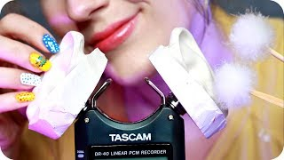 ASMR Tascam Tingles ✨ Oil Ear Massage, Ear Cleaning, Brushing, Glass Dropper, Whisper +