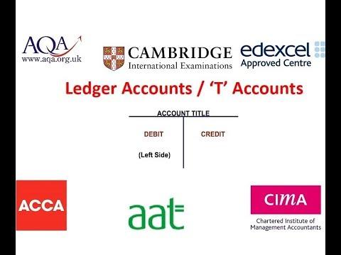 Double Entry Ledger 'T' Accounts