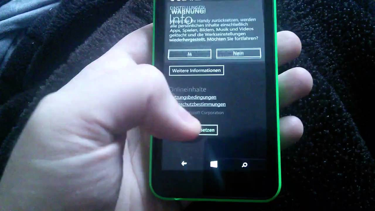 Windows Phone Zurücksetzen