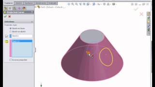 SolidWorks Tutorials - Extruded Boss on Non Planar Surface