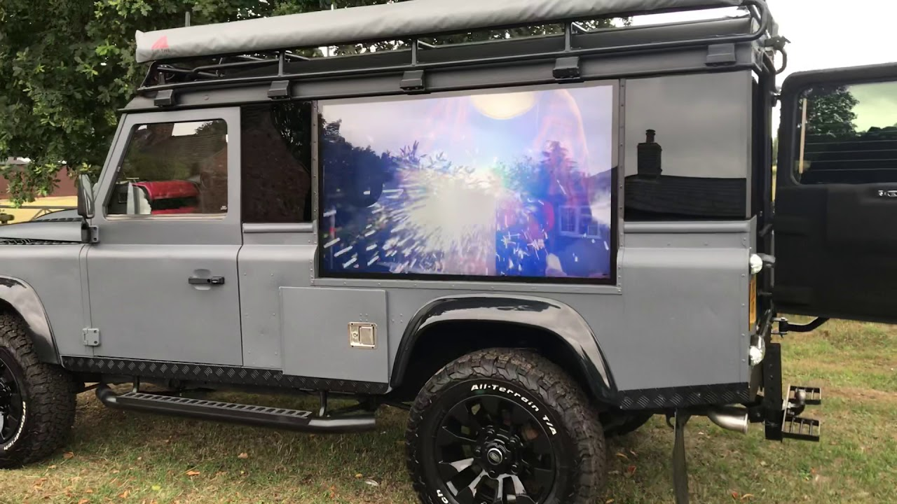 Land Rover Defender with TVs - YouTube