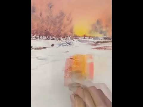 Watercolor Landscape Painting – Winter Sunset  Scene