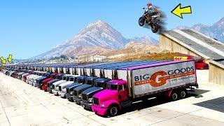 GTA V: DESAFIOS - Quantos CAMINHÕES é possível pular com uma MOTO - Tj