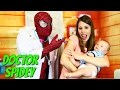 Baby Doctor Check Up with Sandra & Dr Spidey McStuffins Sick Kids See Superhero Doctor DisneyCarToys
