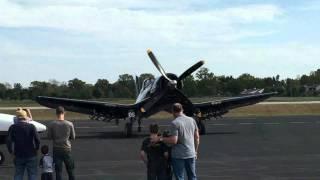 F4U Corsair lowering wings at KRVS