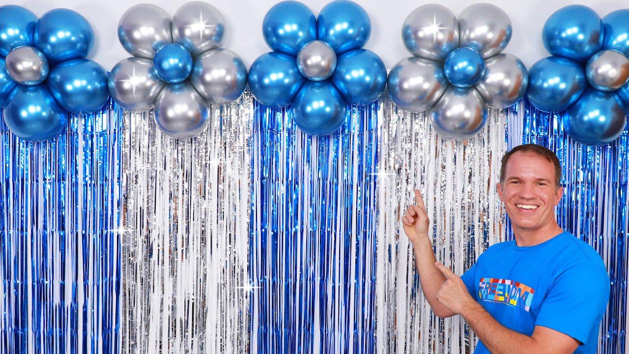 Decoracion De Cumpleaños Decoracion Con Globos Cortinas De Papel Crepe Y Columnas De Globos Youtube