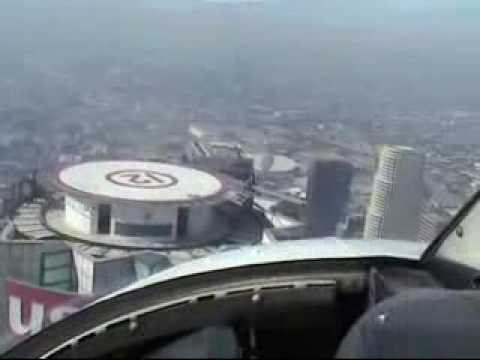 Landing on top of U.S. Bank Los Angeles with helicopter Bell 206 Jetranger