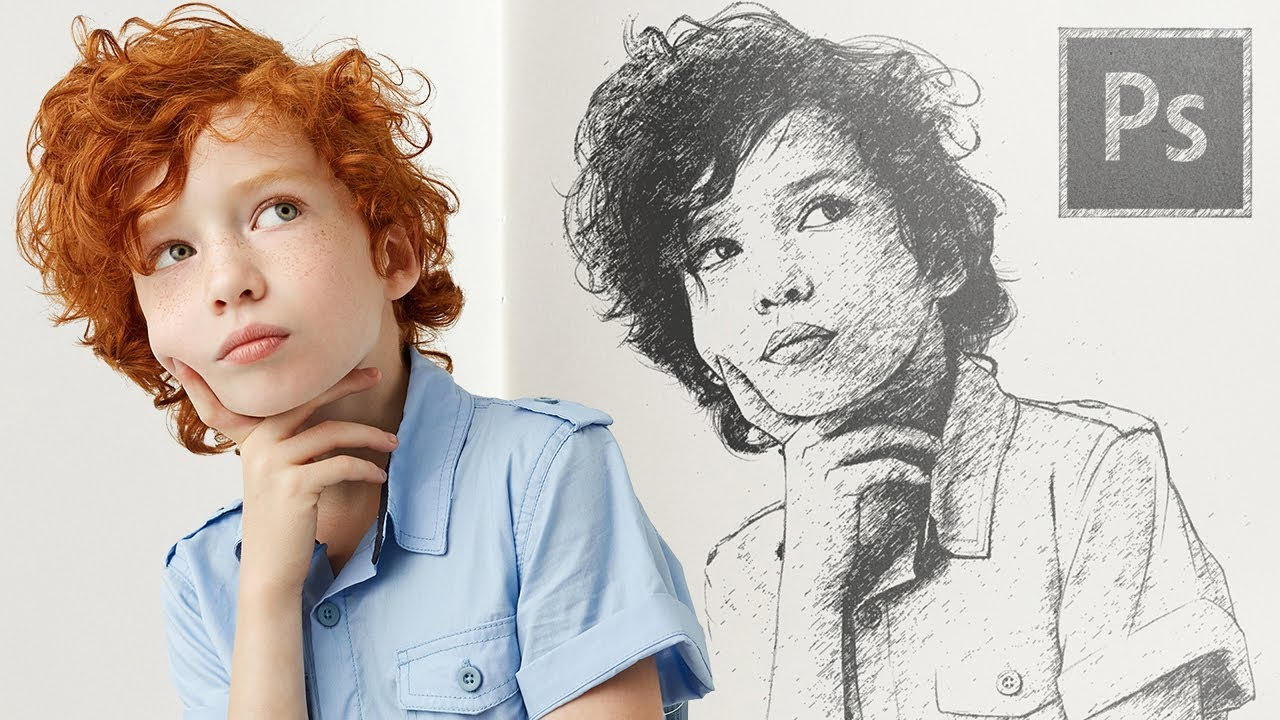 Turn your photo into sketch easily in photoshop