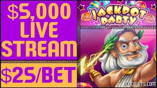 🔴LIVE in VEGAS 🎰 $5,000 on ZEUS II @ $25/Spin ✦ Jackpot Party ✦ with Brian Christopher #AD