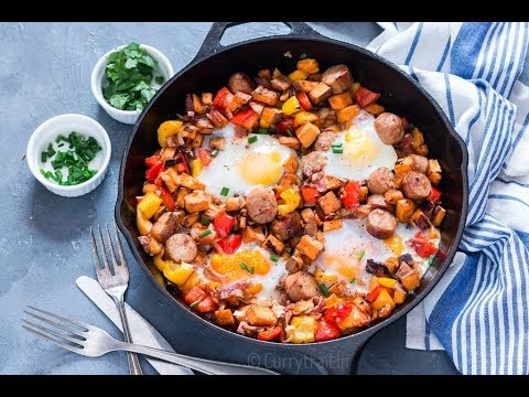 Sweet Potato Breakfast Hash with Sausages and Eggs