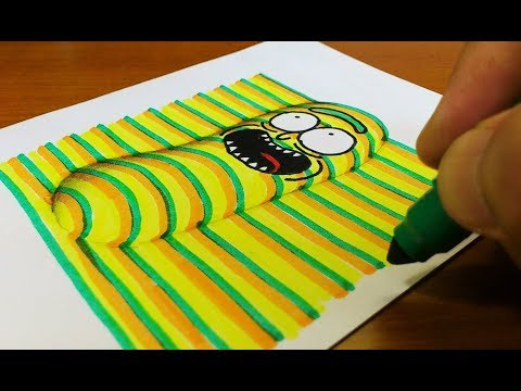 How to Draw 3D Pickle Rick (Rick and Morty) Coloring Pages | Learning Colouring Videos for Kids