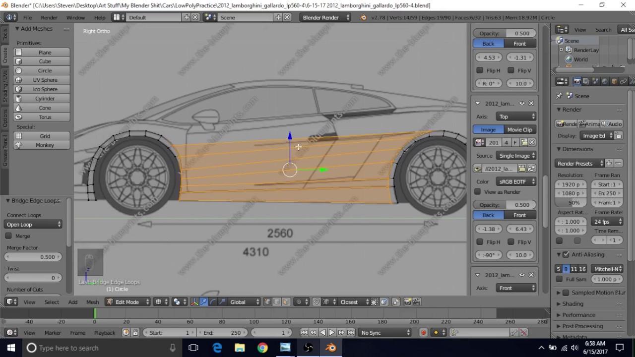 Model A Lamborghini Gallardo LP560-4 in Blender - Tutorial