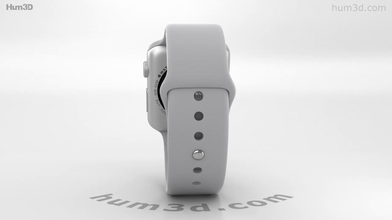 5badc1d51d8 Apple Watch Series 3 42mm GPS + Cellular Silver Aluminum Case Fog Sport  Band 3D model by Hum3D.com