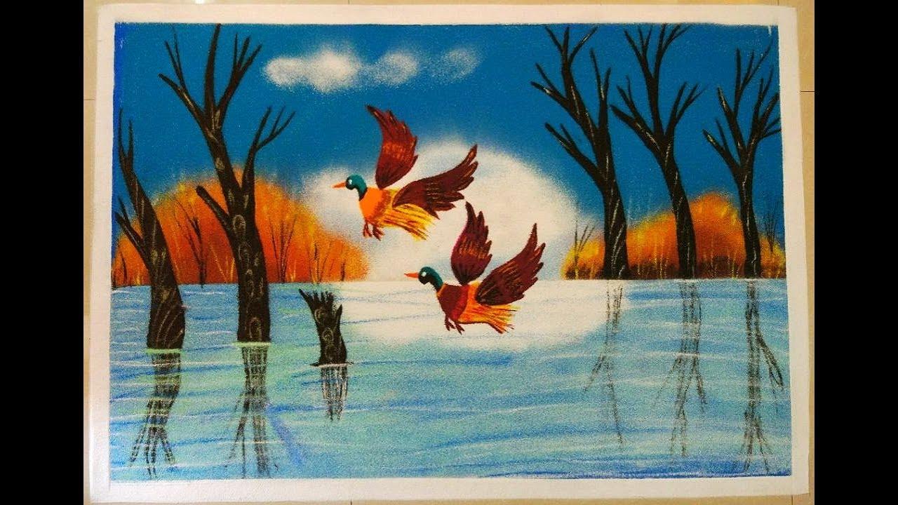 Poster Rangoli Of Birds Flying On Lake