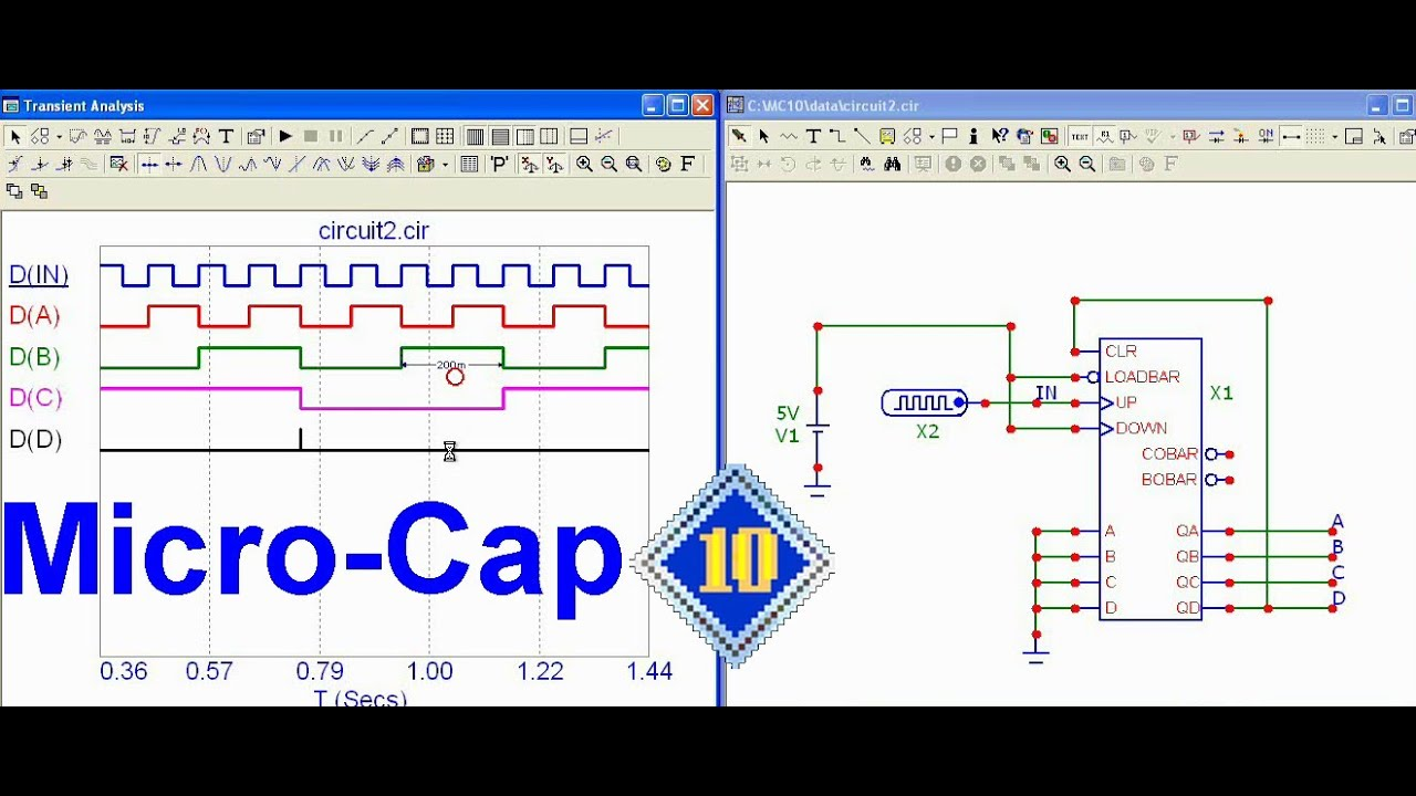 How To Simulate A Digital Circuit In Micro Cap 10 Youtube Decade Counter Diagram Free Download Wiring Diagrams