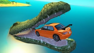 Jumping into Giant Crocodile Mouth Crashes - BeamNG.drive