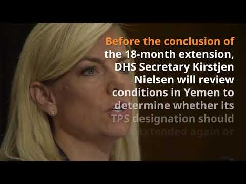 U.S. Alert - DHS Extends TPS for Yemen for 18 Months