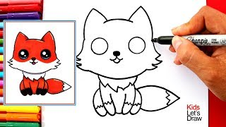 Aprende a dibujar un ZORRO KAWAII fácil | How to Draw a Cute Fox Easy