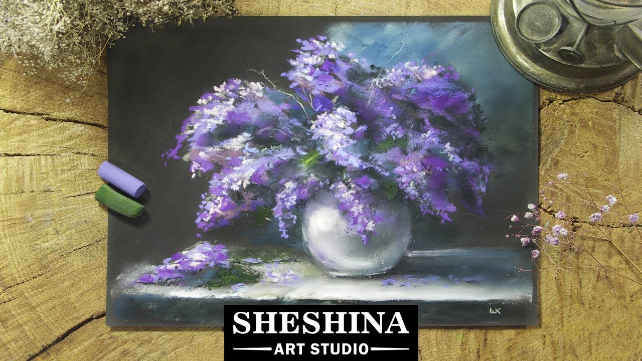 How to draw a lilac with soft pastels 🎨 Flowers - YouTube