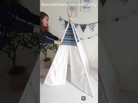 Hướng dẫn lắp ráp lều vải cho bé - lều thổ dân DIY teepee tent - lều vải cọc gỗ - lều vải Thiên Ý