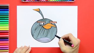 How to draw Bomb from Angry Birds