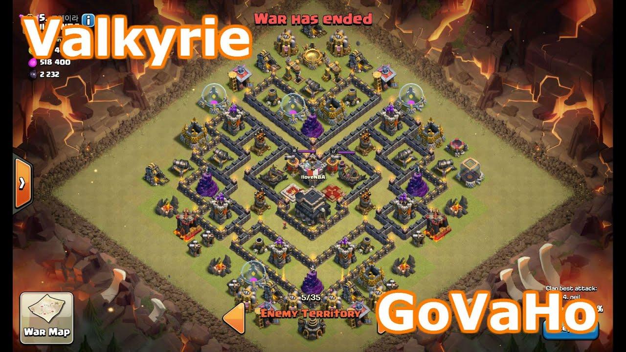 Valkyrie attack vs popular th9 war base govaho attack youtube
