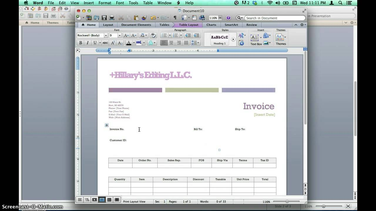 Creating Invoices Using Microsoft Word Templates YouTube - Ms word invoice template doc for service business