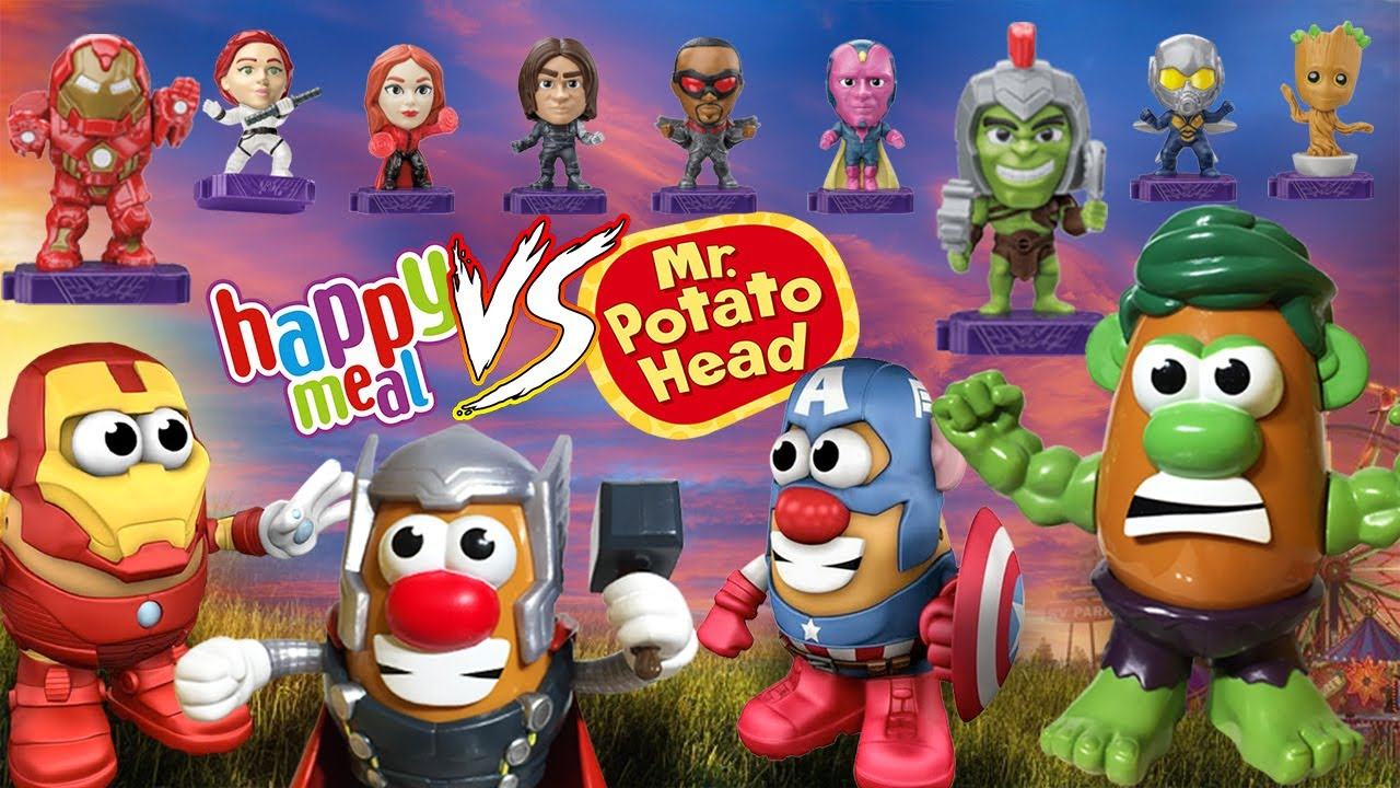 McDonalds Happy Meal Marvel Heroes vs Mr Potato Head Ironman Thor Captain America Hulk