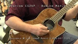 ovation cs24 p burled maple acoustic guitar demo video