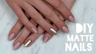 DIY Matte, Nude, Glitter Nail Tutorial at Home!
