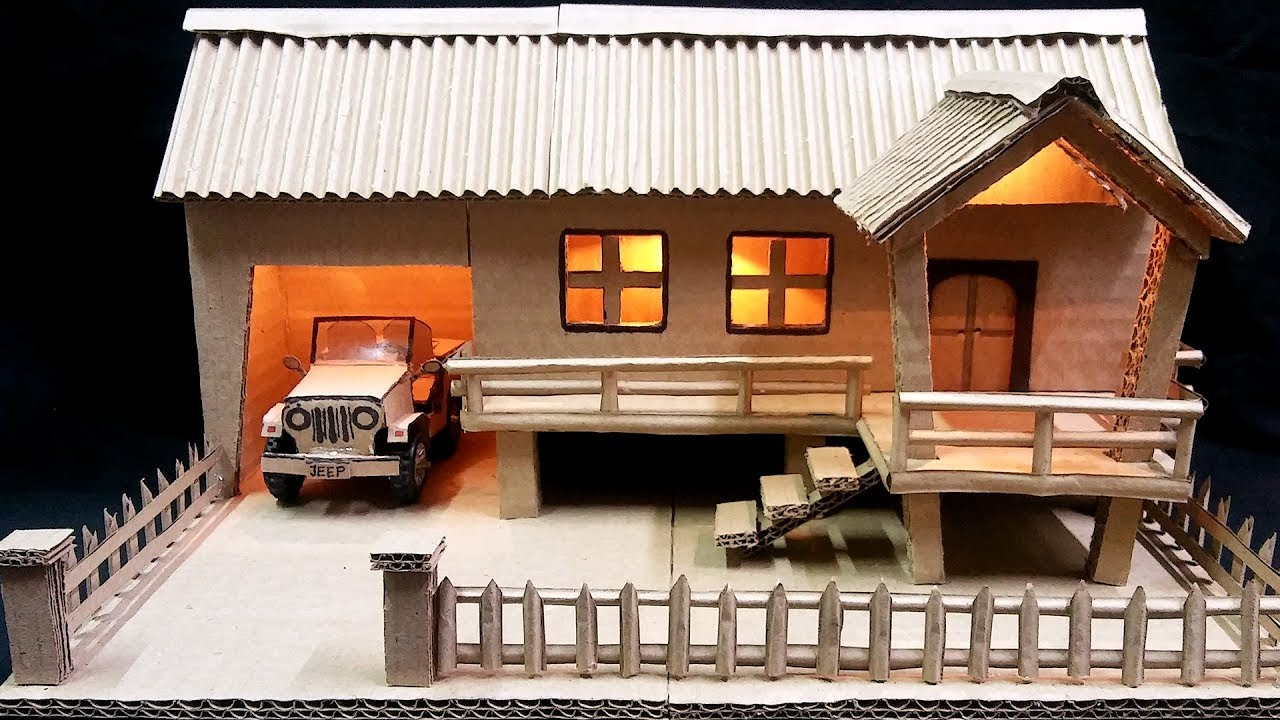 How To Make Farmhouse Model From Cardboard Youtube