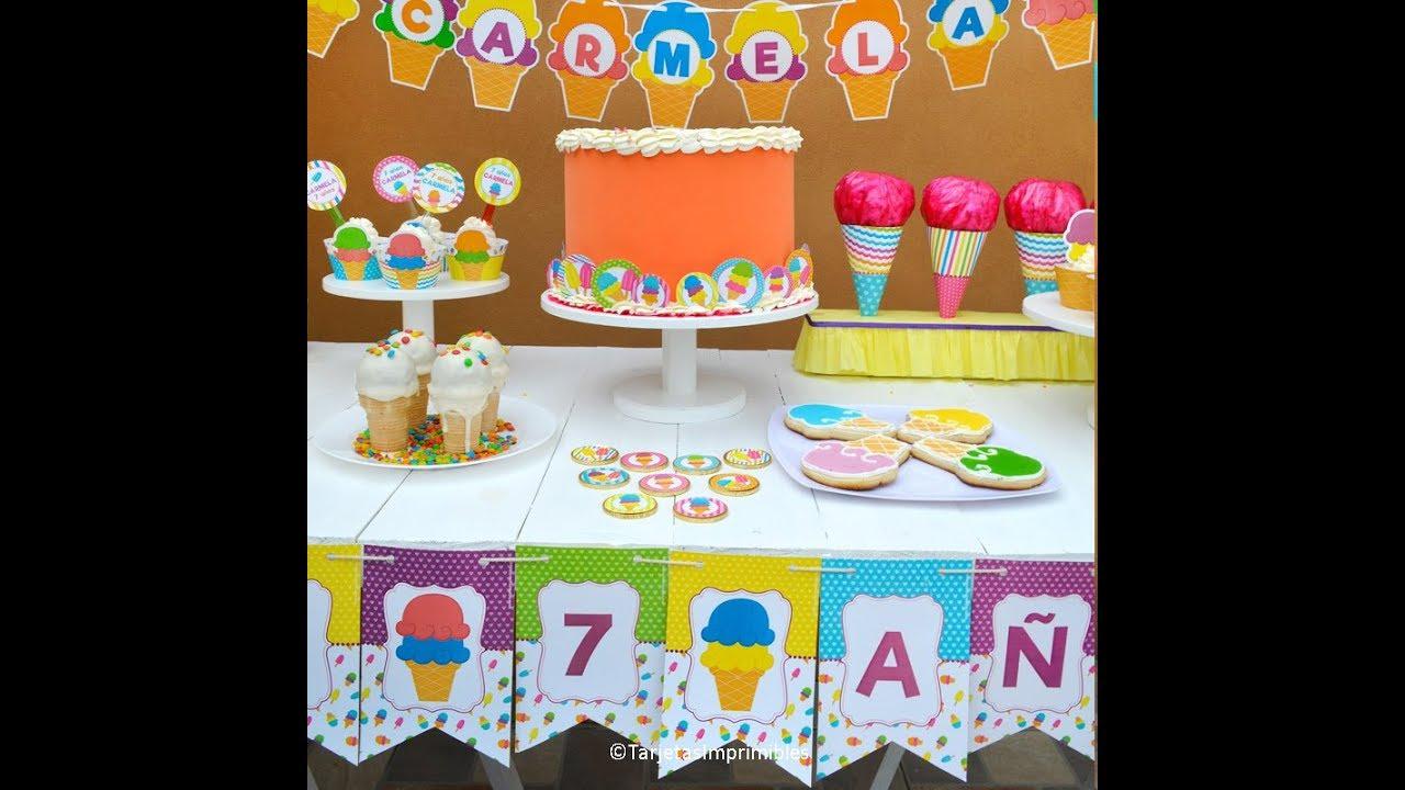 Ideas para fiestas tem ticas de helados decoraci n y - Decoracion de helados ...